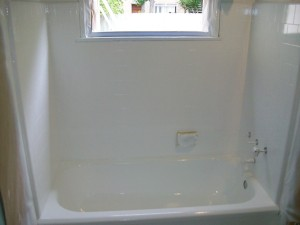 After Reglaze (Porcelain tub and tile walls)